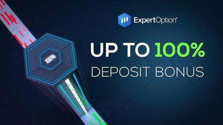 Promozione di benvenuto di ExpertOption - Bonus di deposito del 100% fino a $ 500