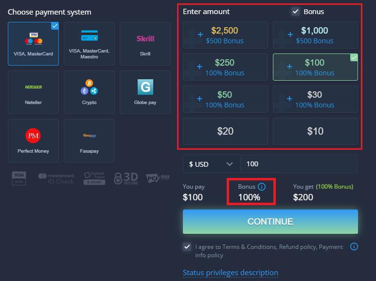 Promozione di benvenuto ExpertOption - Bonus di deposito del 100% fino a $500