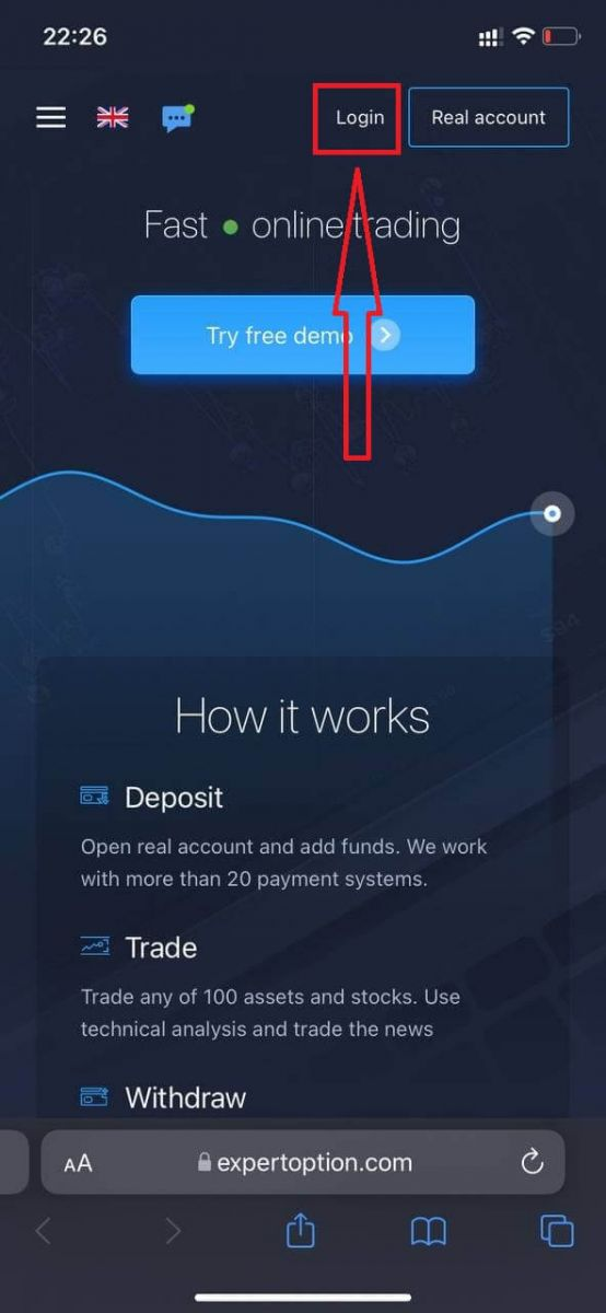 Come accedere e depositare denaro in ExpertOption